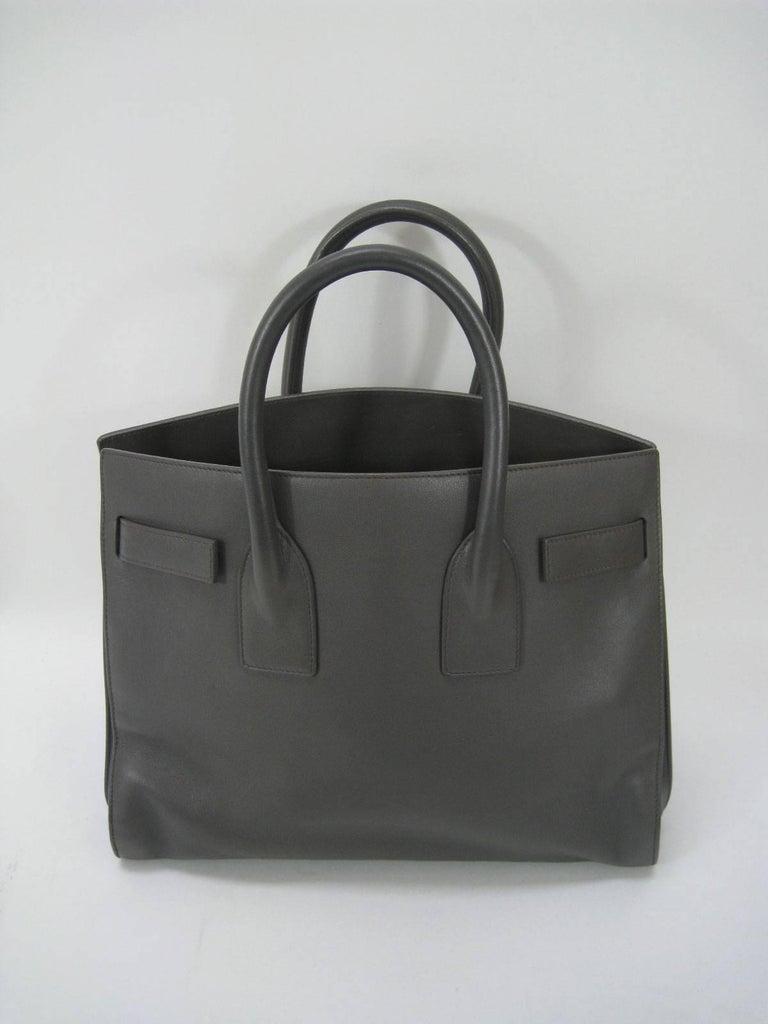 Saint Laurent Baby Sac De Jour Gray Leather Handbag Purse  For Sale 1
