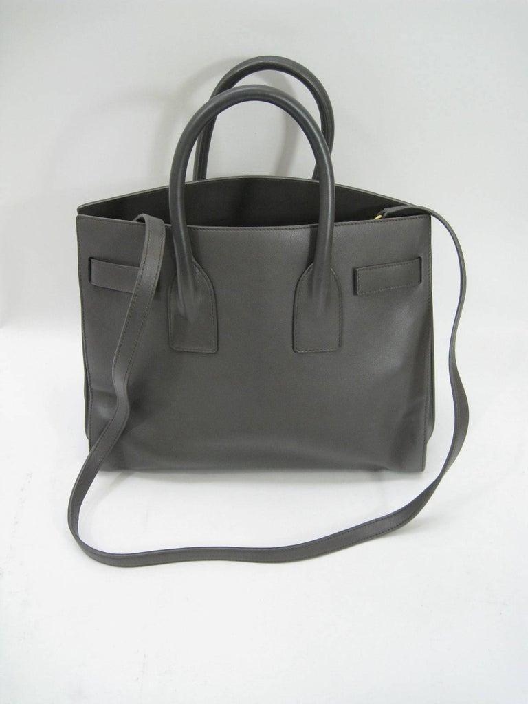 Women's or Men's Saint Laurent Baby Sac De Jour Gray Leather Handbag Purse  For Sale