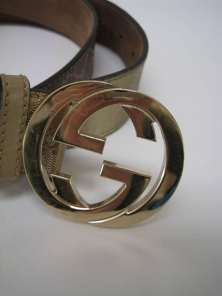 2c5223e1060 Gucci Guccissima gold metallic leather belt with G buckle. Interlocking G  buckle. Textured all