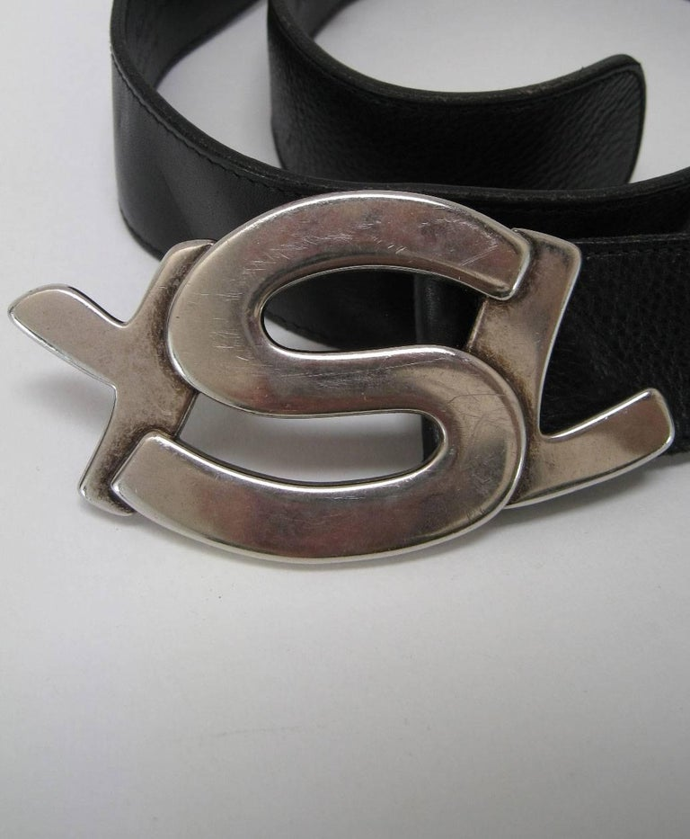 Yves Saint Laurent Silver YSL Logo Belt & Buckle For Sale 2