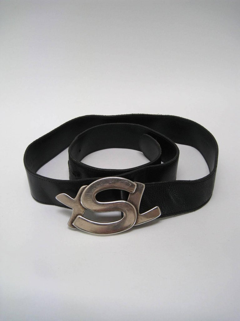 Yves Saint Laurent Silver Ysl Logo Belt And Buckle At 1stdibs