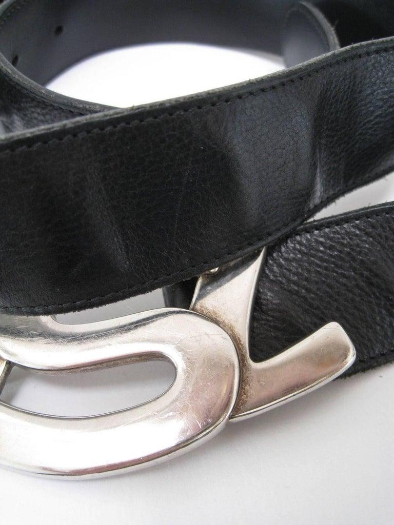 Yves Saint Laurent Silver YSL Logo Belt & Buckle For Sale 1