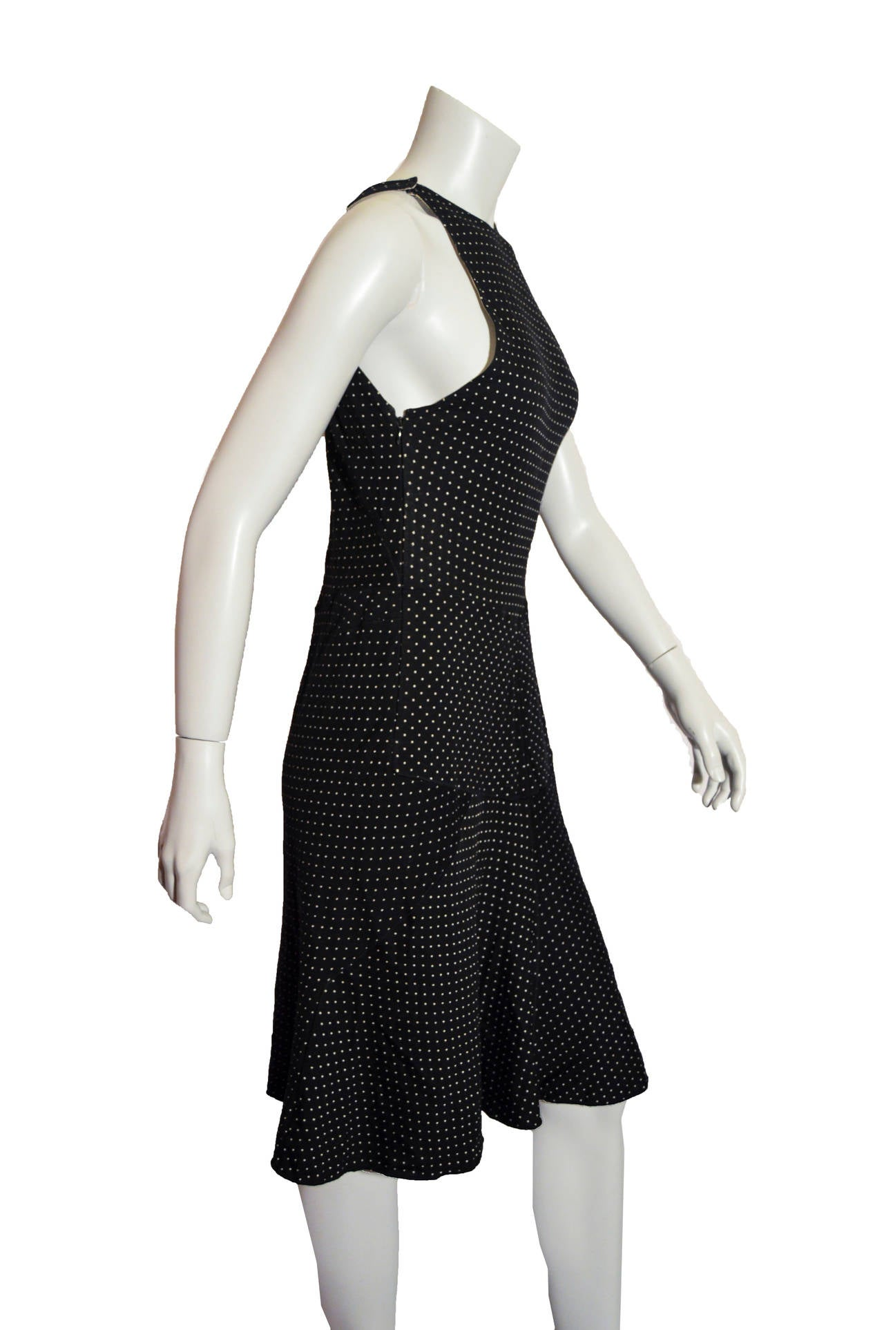 Alaia Polka Dot Body-Con Dress in Black In Good Condition For Sale In San Francisco, CA