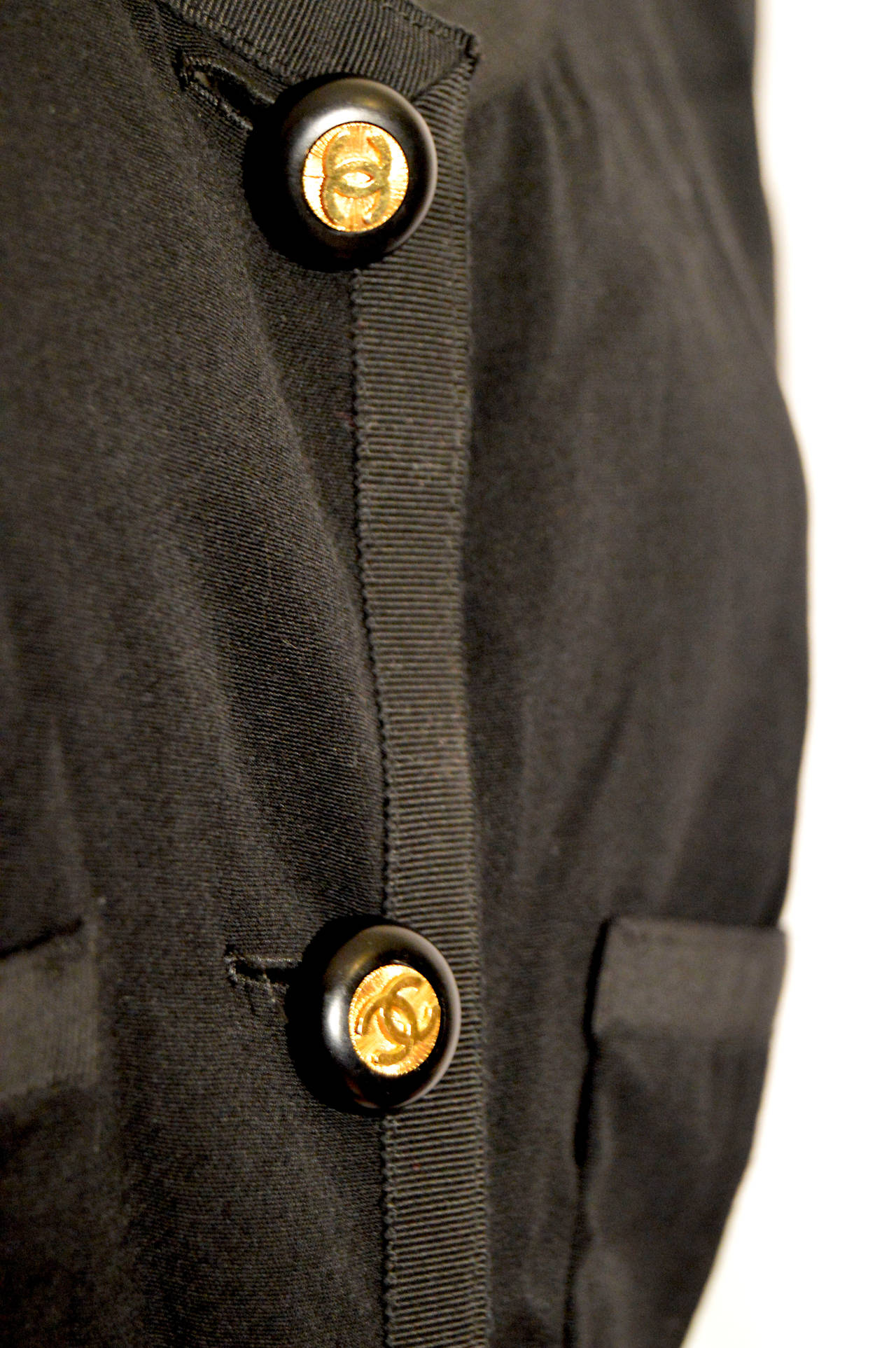 Chanel Vintage Black Wool Dress with Logo Buttons For Sale 2