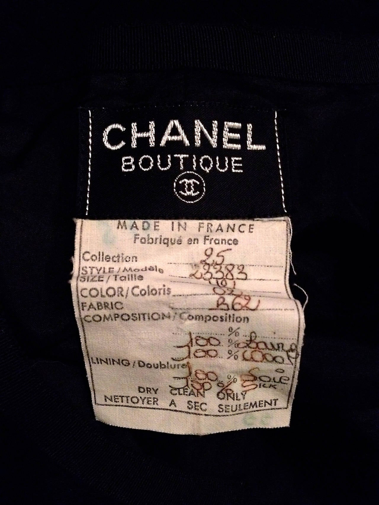 Chanel Vintage Black Wool Dress with Logo Buttons For Sale 3