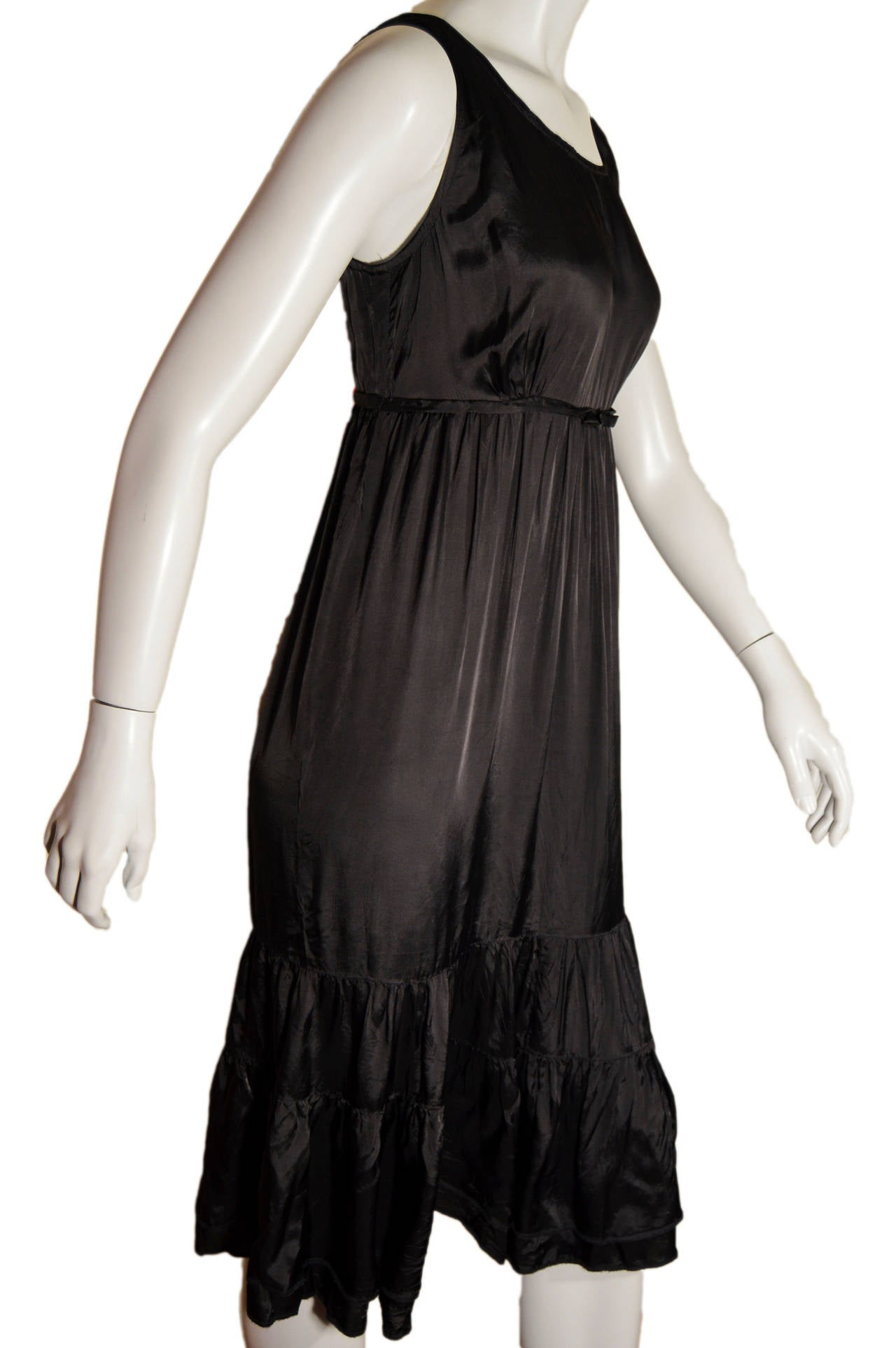 Women's Comme des Garcons Black Rayon Tiered Dress For Sale