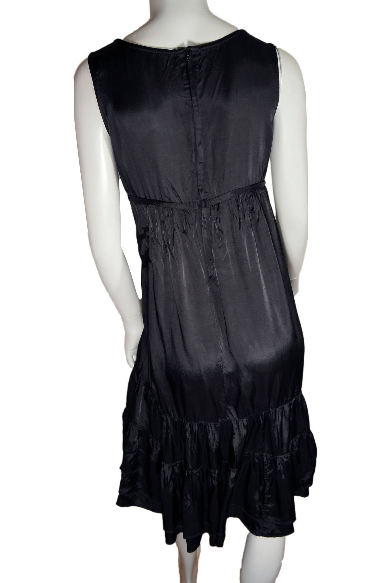 Comme des Garcons Black Rayon Tiered Dress In Fair Condition For Sale In San Francisco, CA