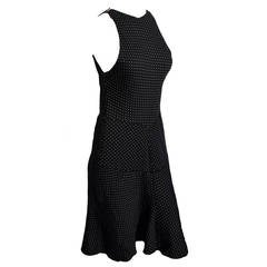 Alaia Polka Dot Body-Con Dress in Black