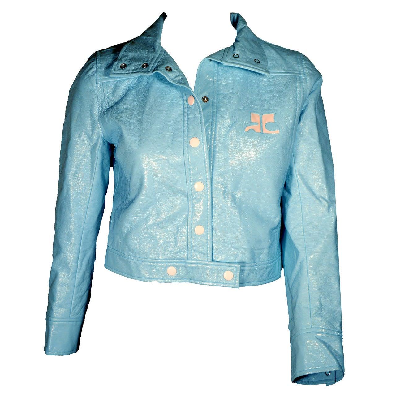courreges iconic baby blue vinyl cropped logo jacket at 1stdibs. Black Bedroom Furniture Sets. Home Design Ideas