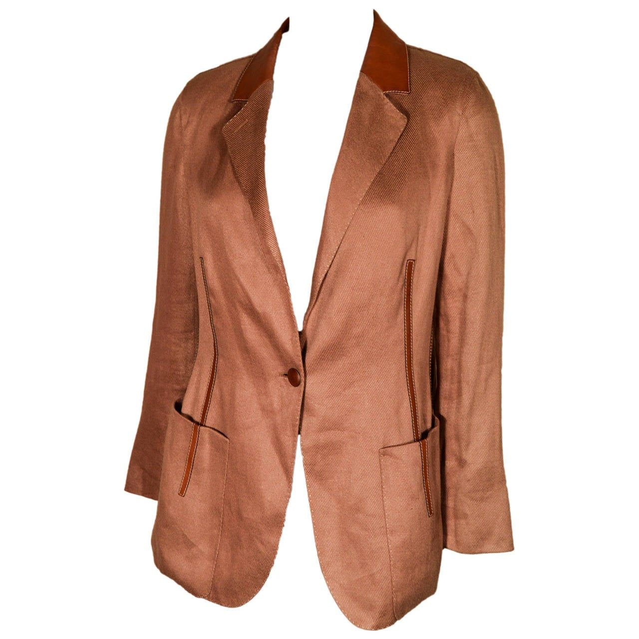 Hermes Linen Blazer Jacket with Leather Piping
