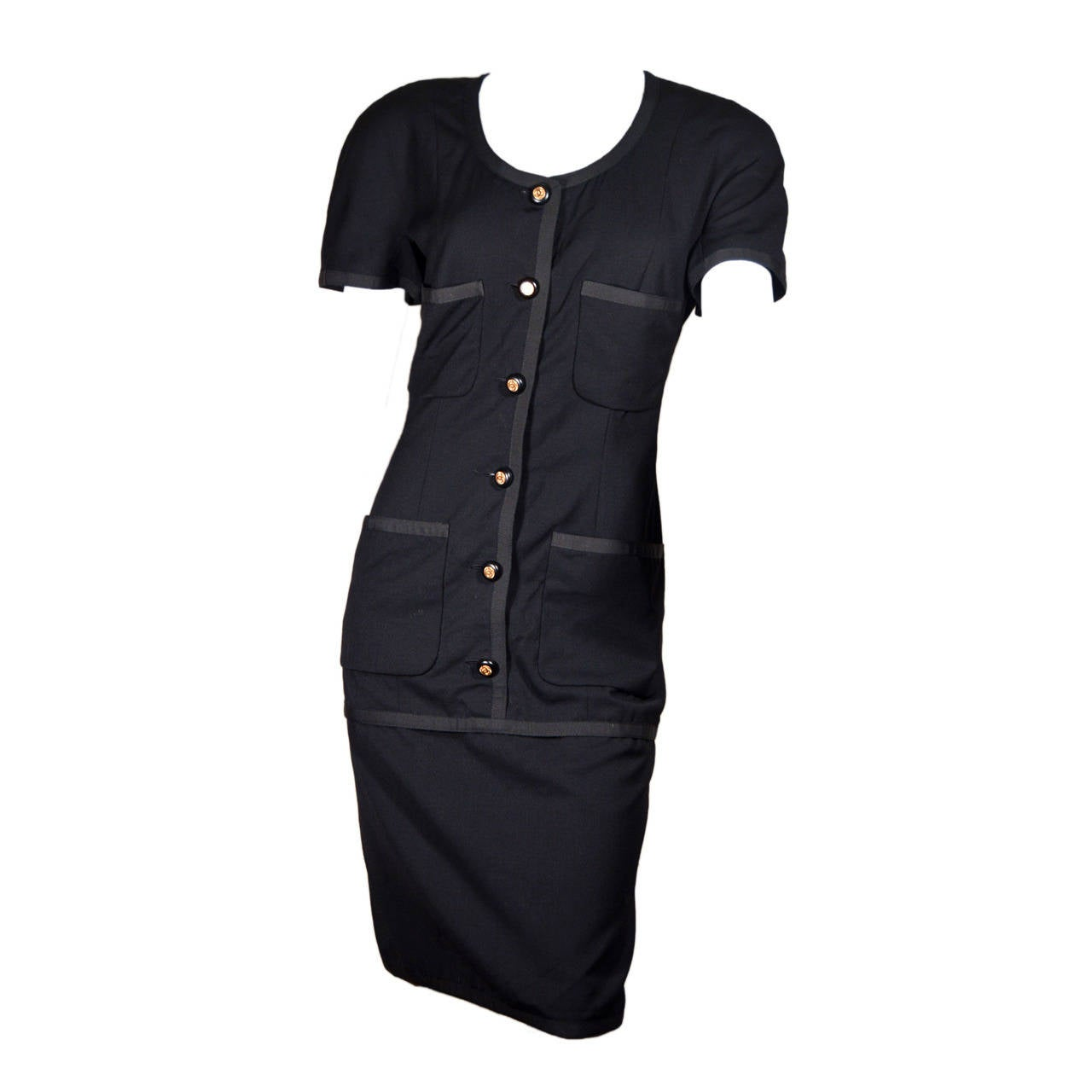 Chanel Vintage Black Wool Dress with Logo Buttons