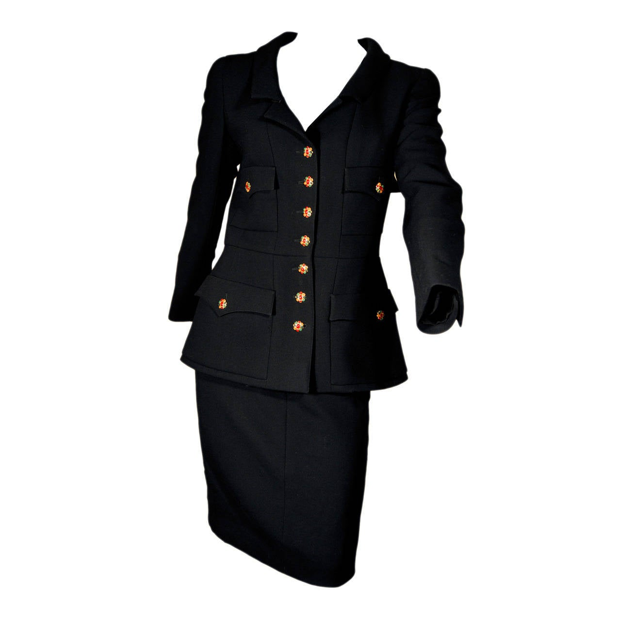 Chanel 1996 Black Wool Skirt Suit with Gripoix Buttons