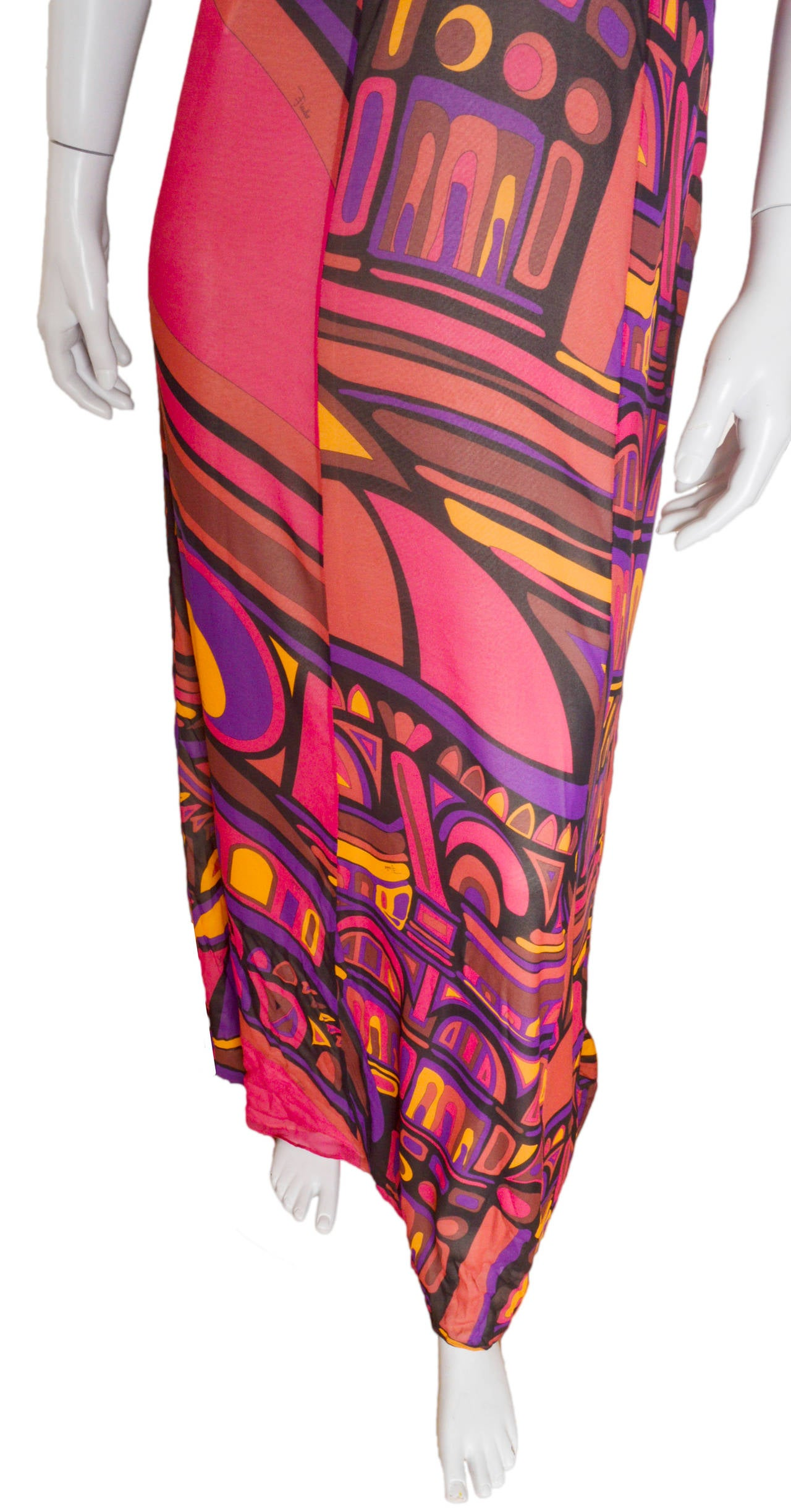 Pink Emilio Pucci Silk Crepe Gown For Sale