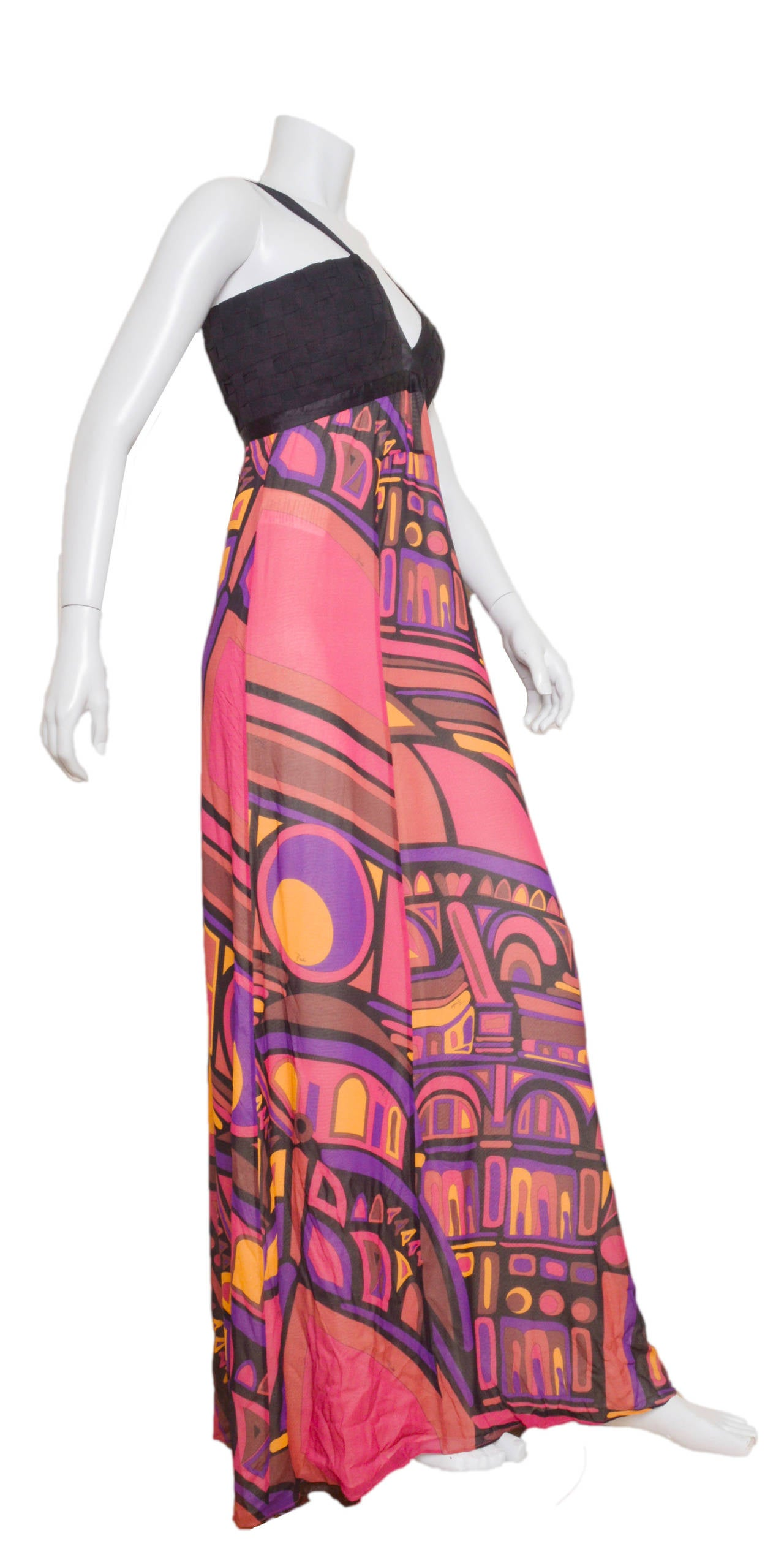 Emilio Pucci Silk Crepe Gown In Excellent Condition For Sale In San Francisco, CA