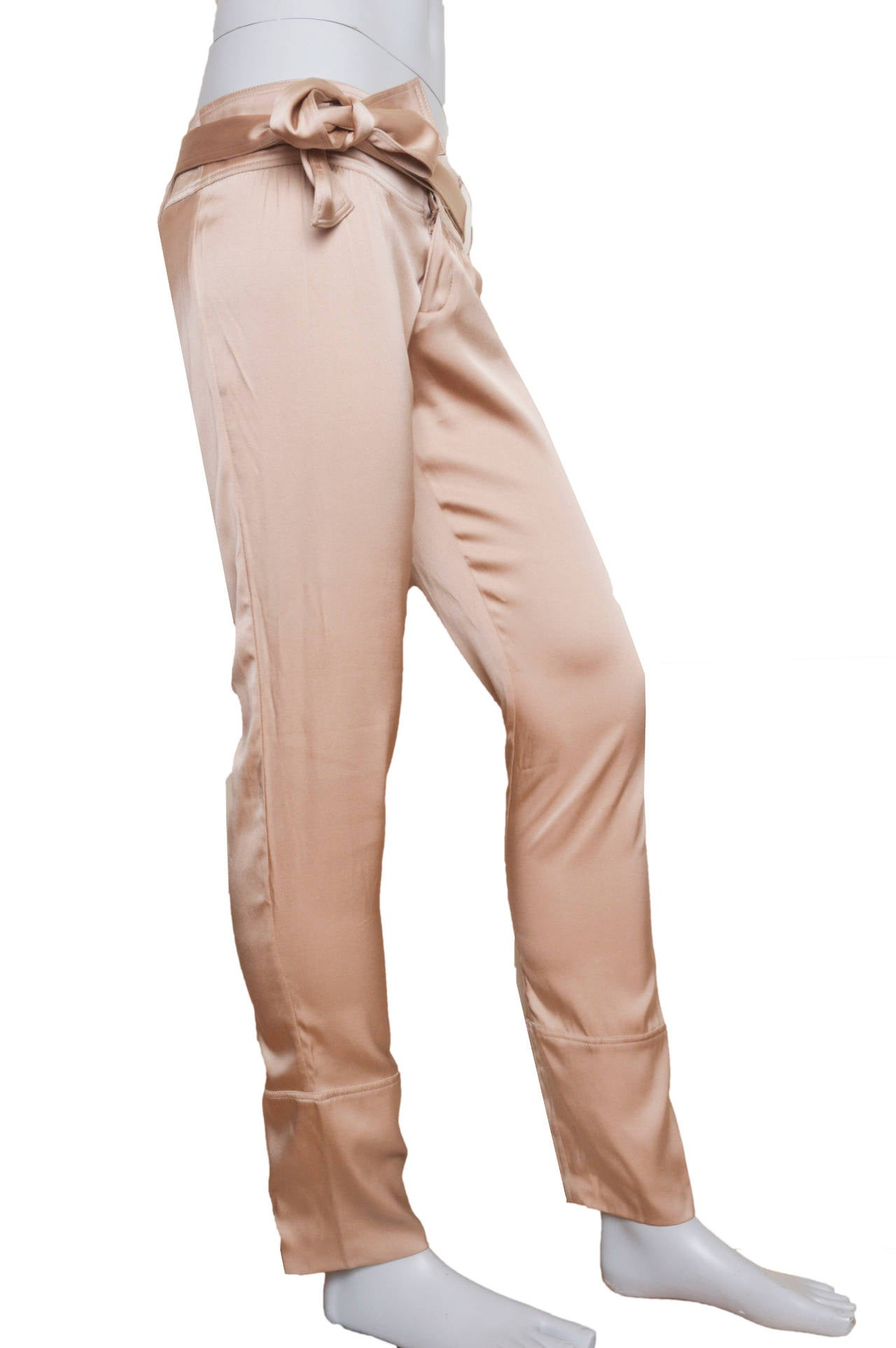 Gucci Champagne Silk Pencil Leg Trousers In Excellent Condition For Sale In San Francisco, CA