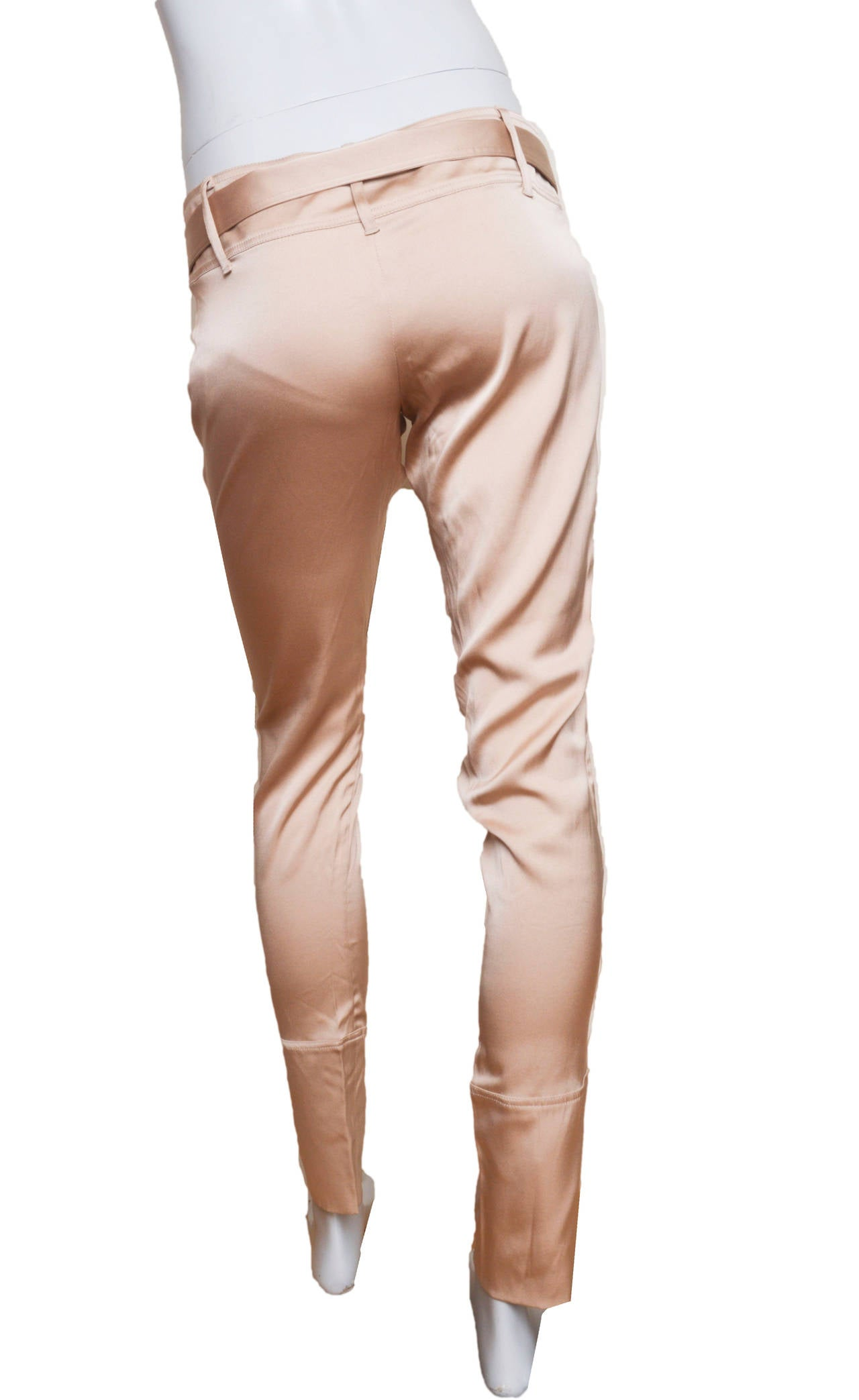 Beige Gucci Champagne Silk Pencil Leg Trousers For Sale
