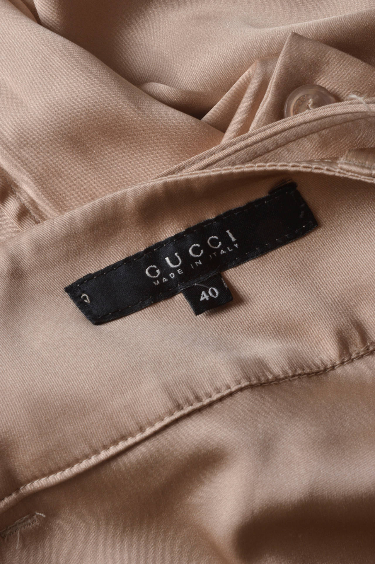 Gucci Champagne Silk Pencil Leg Trousers For Sale 1