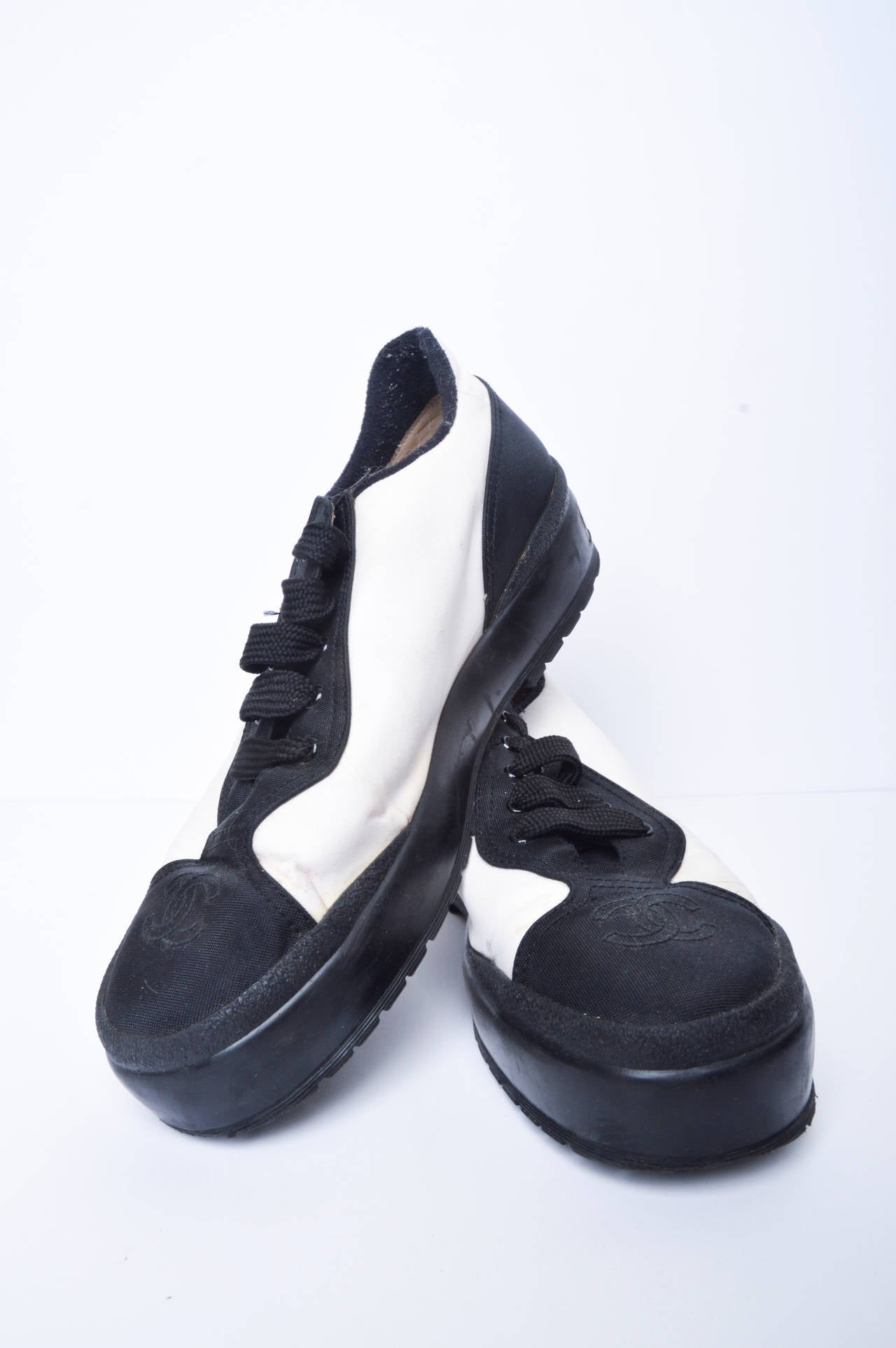 chanel black and white athletic shoes size 38 at 1stdibs