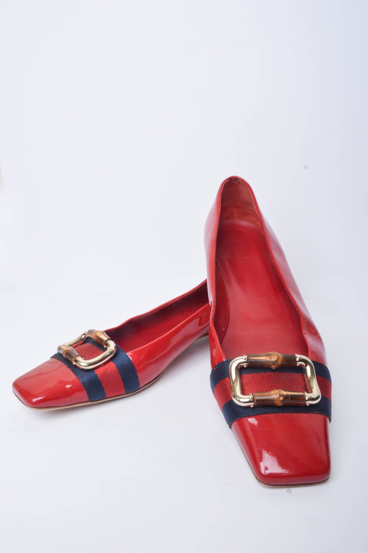 Gucci Red Patent Leather Mod Flats Size 8 2