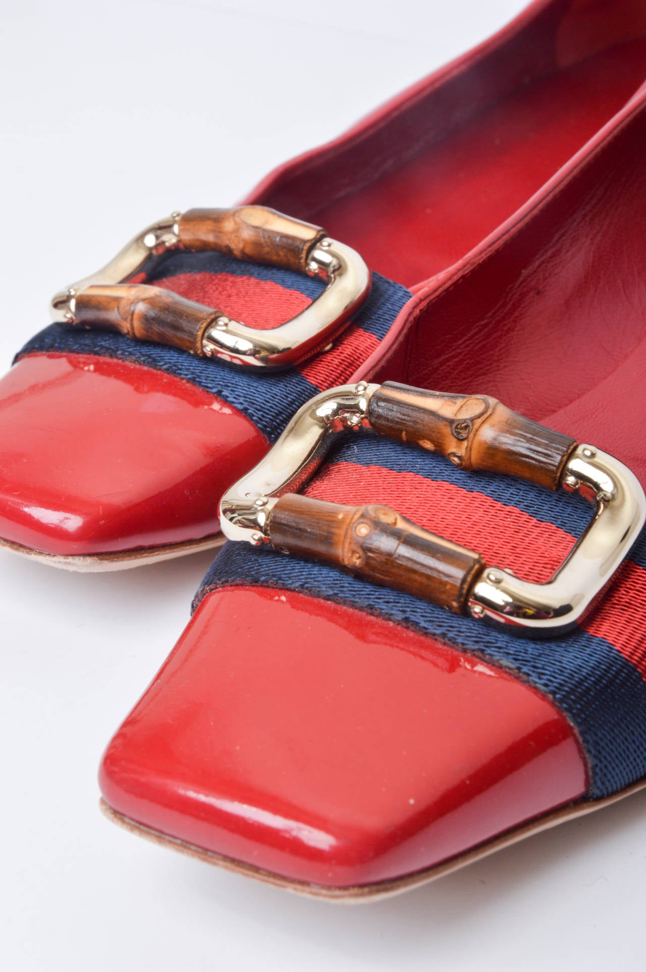 Gucci Red Patent Leather Mod Flats Size 8 6