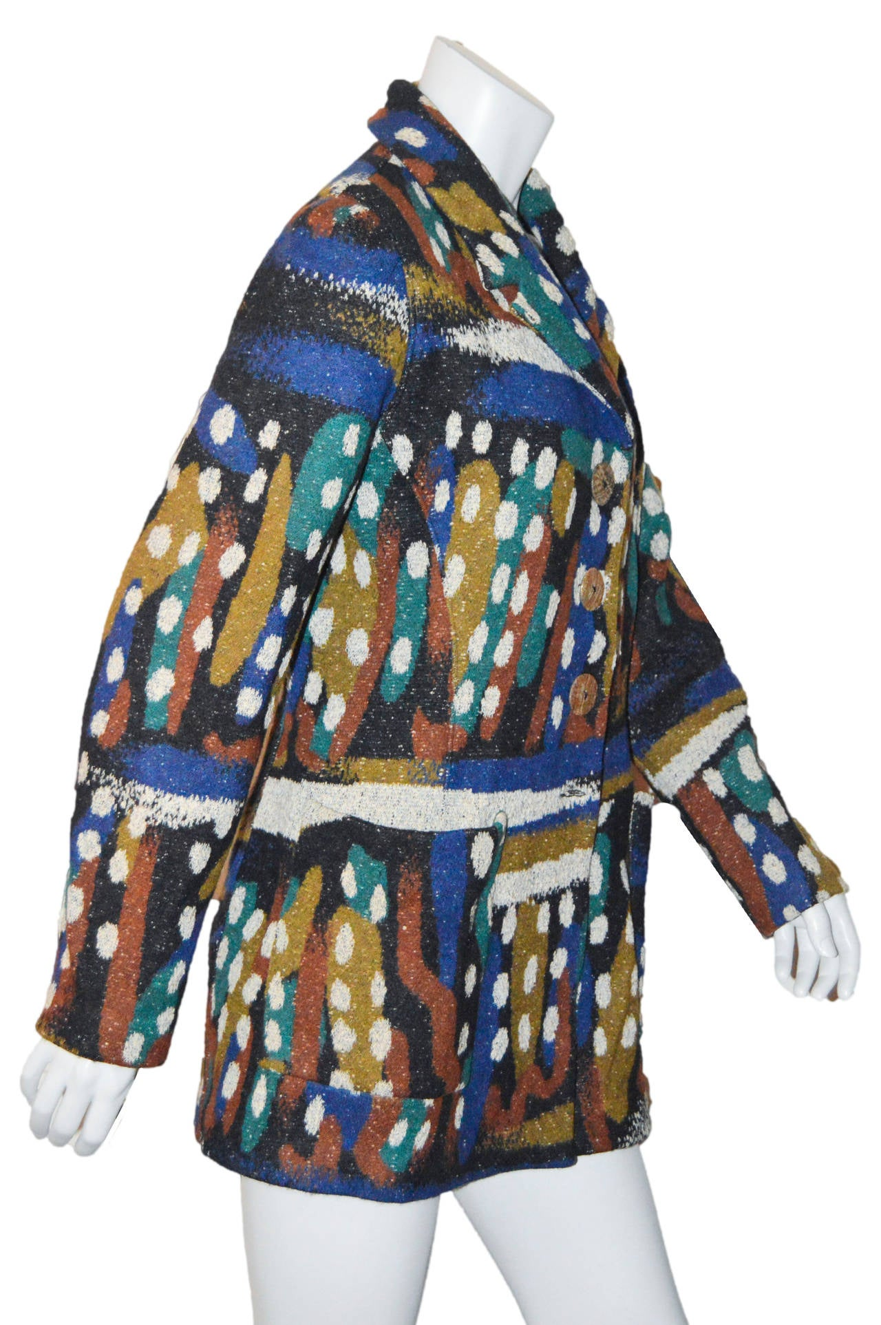 Black Missoni Wool Abstract Spotted Blazer Coat For Sale