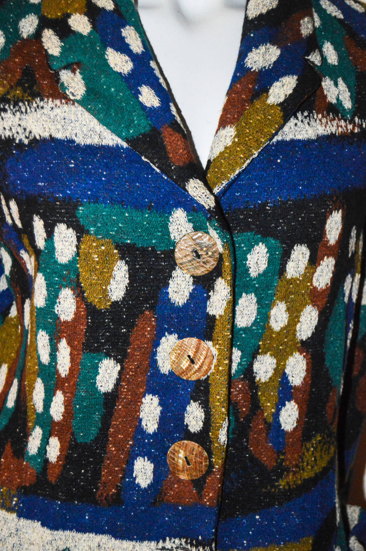 Missoni Wool Abstract Spotted Blazer Coat In Excellent Condition For Sale In San Francisco, CA