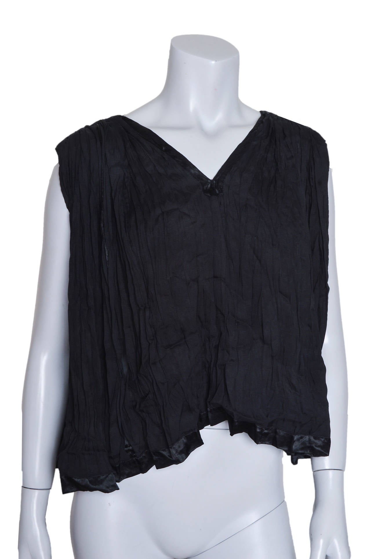 Elegant Issey Miyake black top and skirt set.