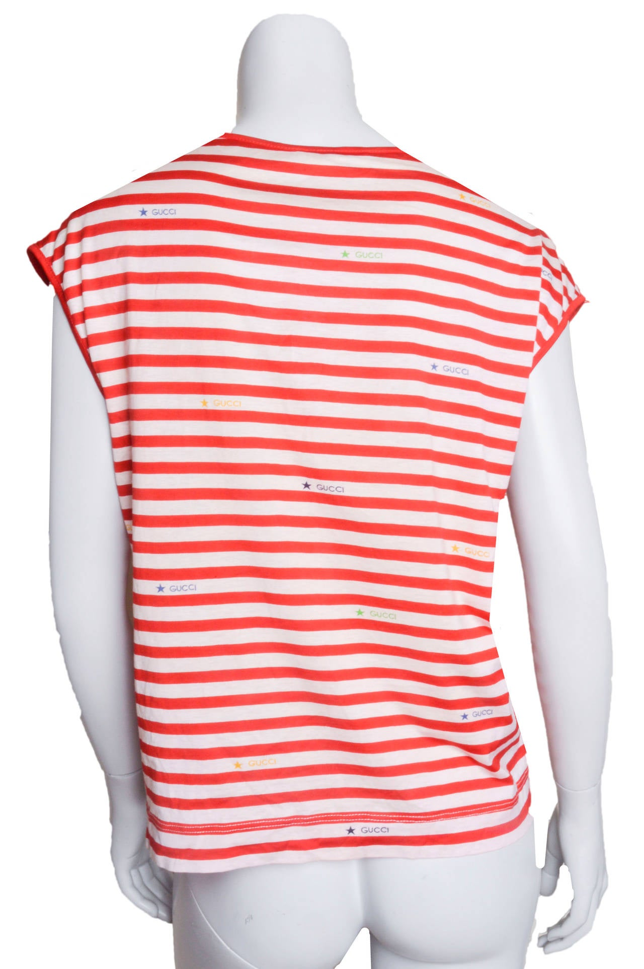 Gucci Red & White Striped Logo T-Shirt In Excellent Condition For Sale In San Francisco, CA