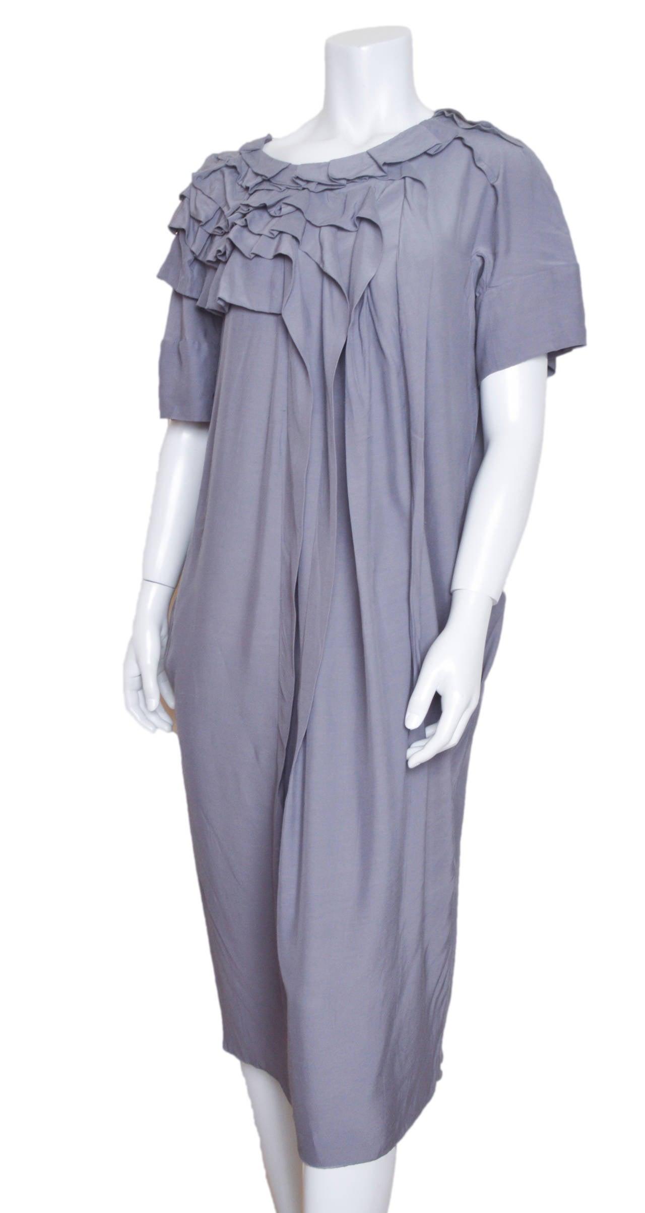 Marni Gray Ruffle Shift Dress Size 42 For Sale 1