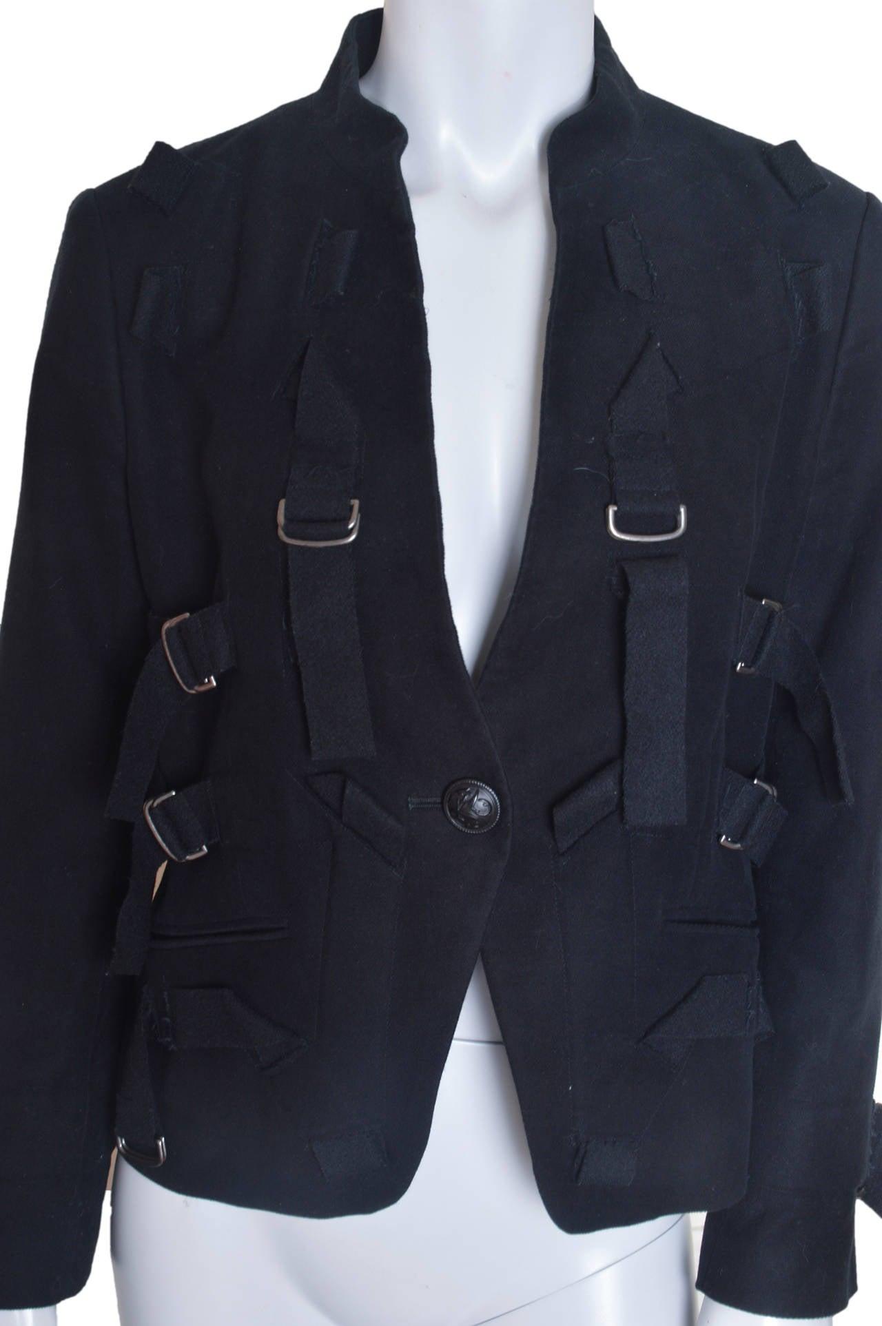 Issey Miyake Black Parachute Bondage Straps & Buckles Jacket For Sale 1