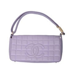 Chanel Cc Lilac Leather Quilted Handbag