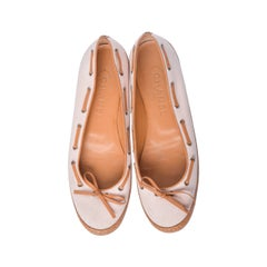 Chanel Pink & Tan Canvas & Leather Ballet Flats Size 37