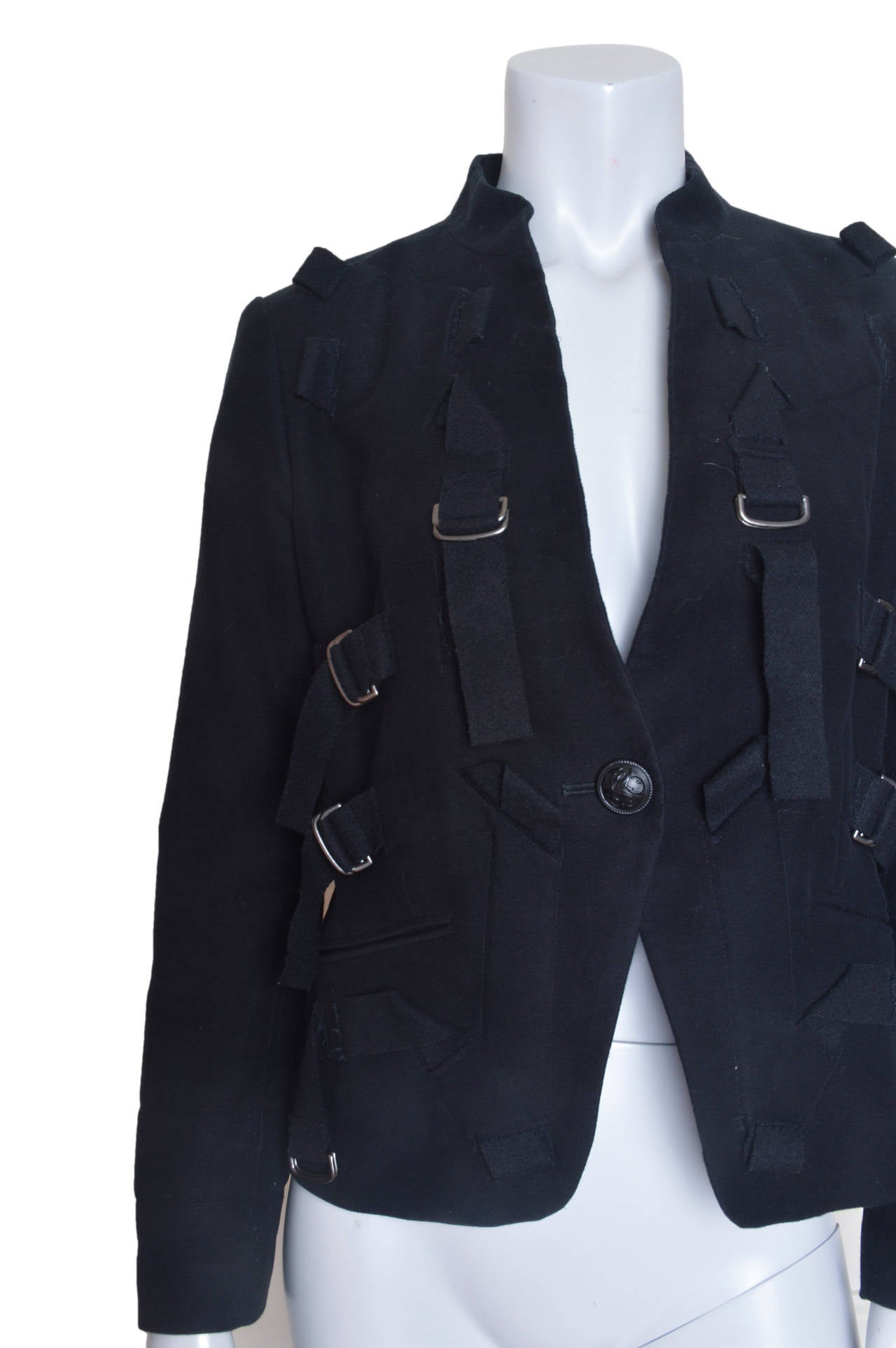 Issey Miyake Black Parachute Bondage Straps & Buckles Jacket In Excellent Condition For Sale In San Francisco, CA