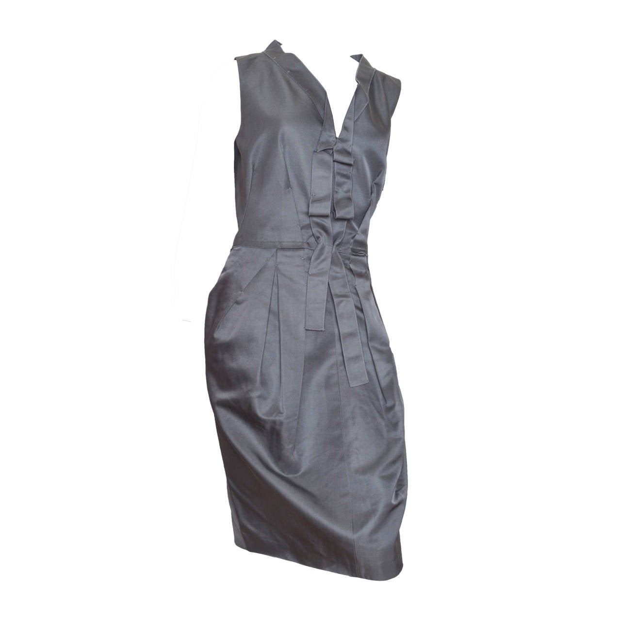 Gianfranco Ferre Gunmetal Grey Sateen Dress