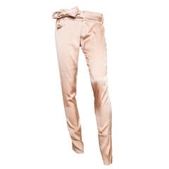 Gucci Champagne Silk Pencil Leg Trousers