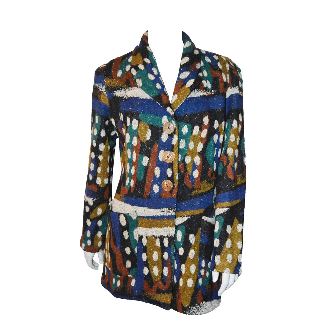 Missoni Wool Abstract Spotted Blazer Coat For Sale