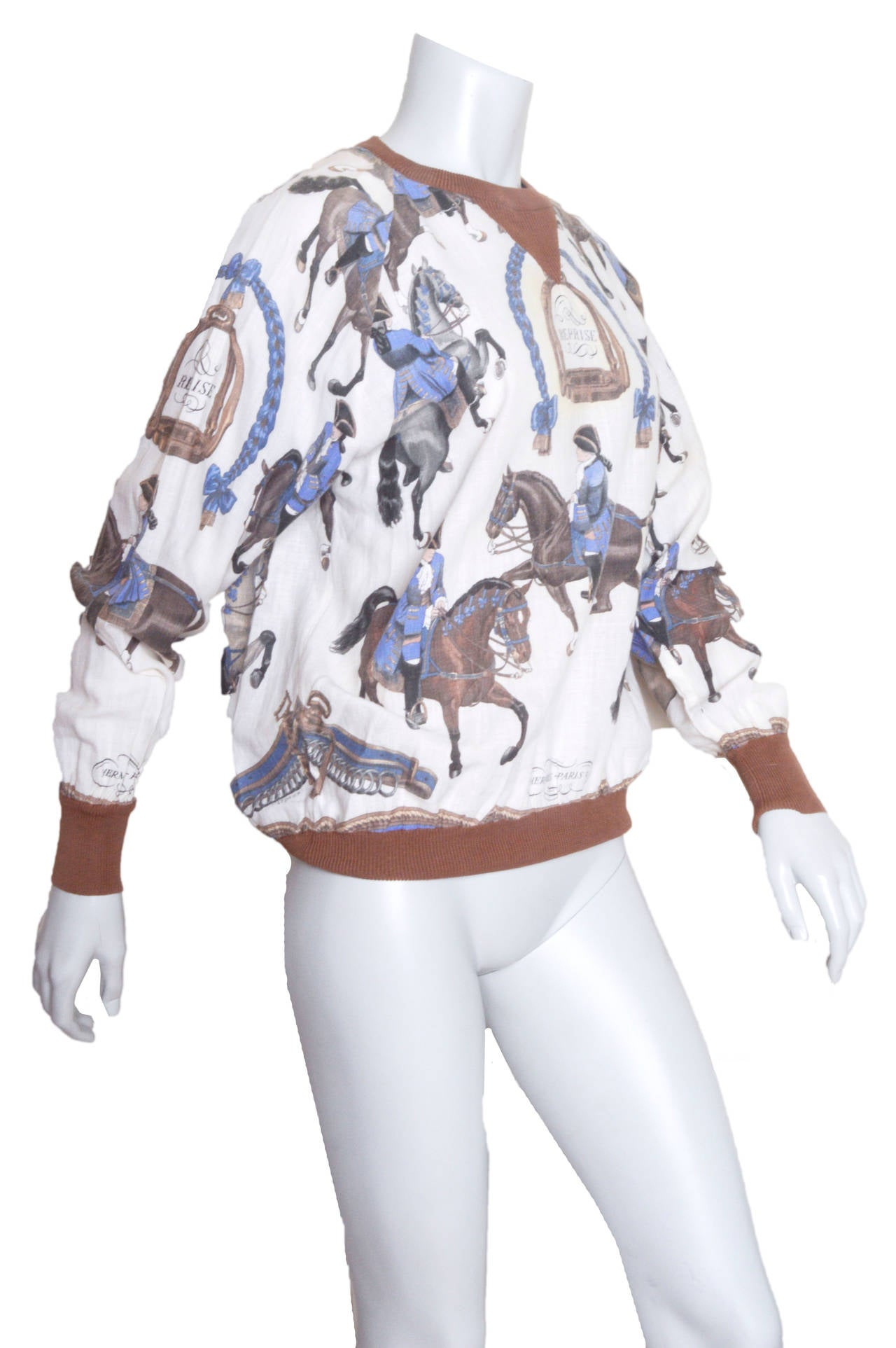 Hermes Equestrian Scarf Print Blouse 2
