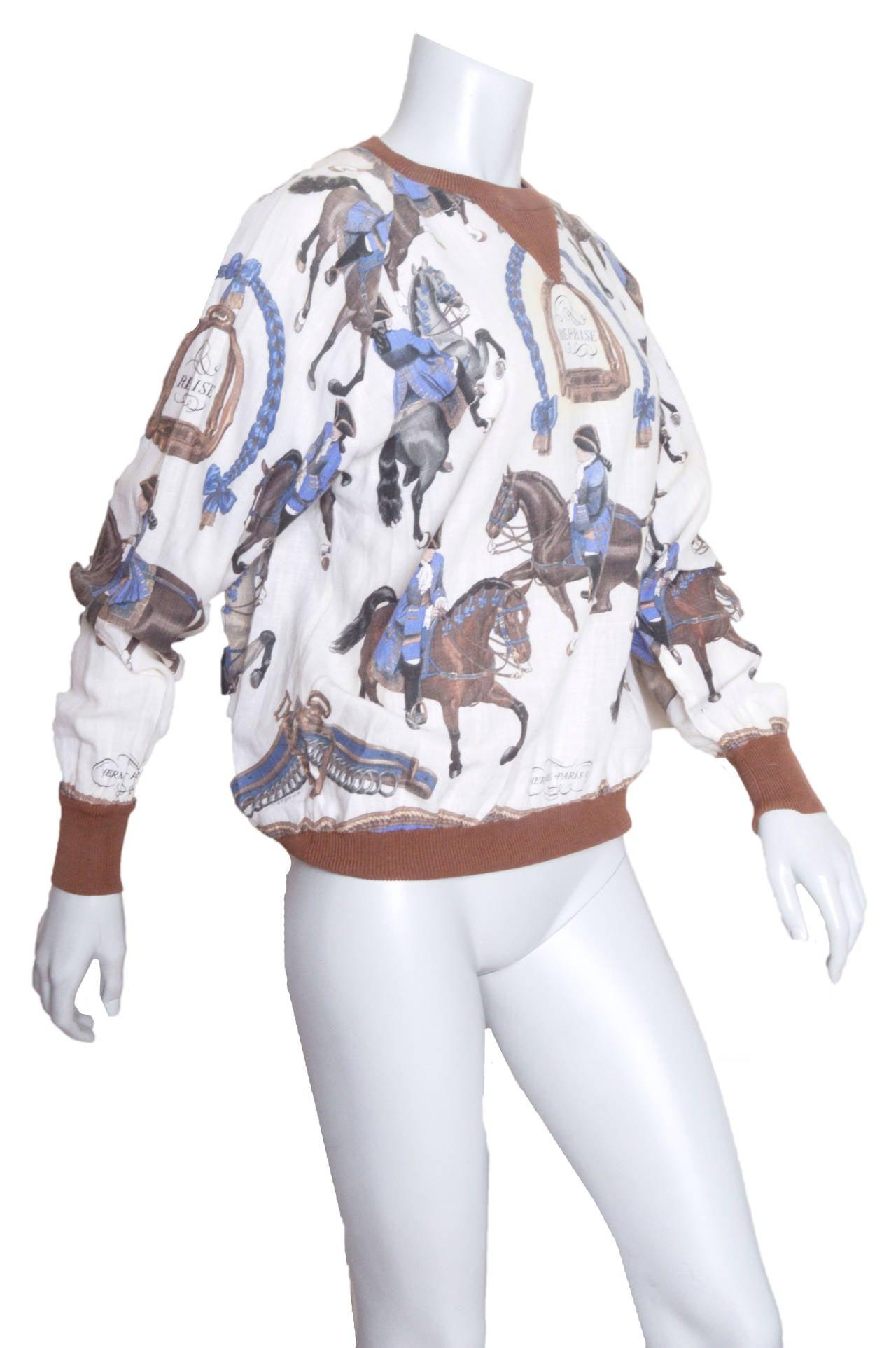 Hermes Equestrian Scarf Print Blouse 2