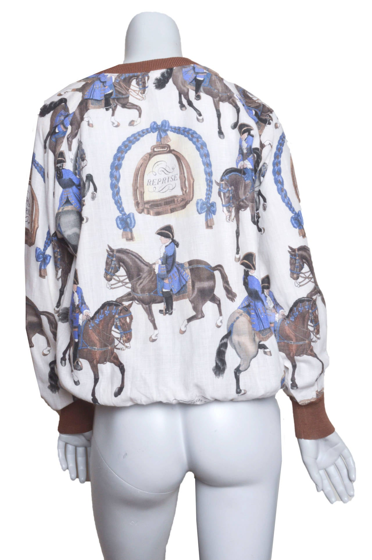 Hermes Equestrian Scarf Print Blouse 4