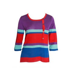 Yves Saint Laurent Rive Gauche Colorblock Knit Top
