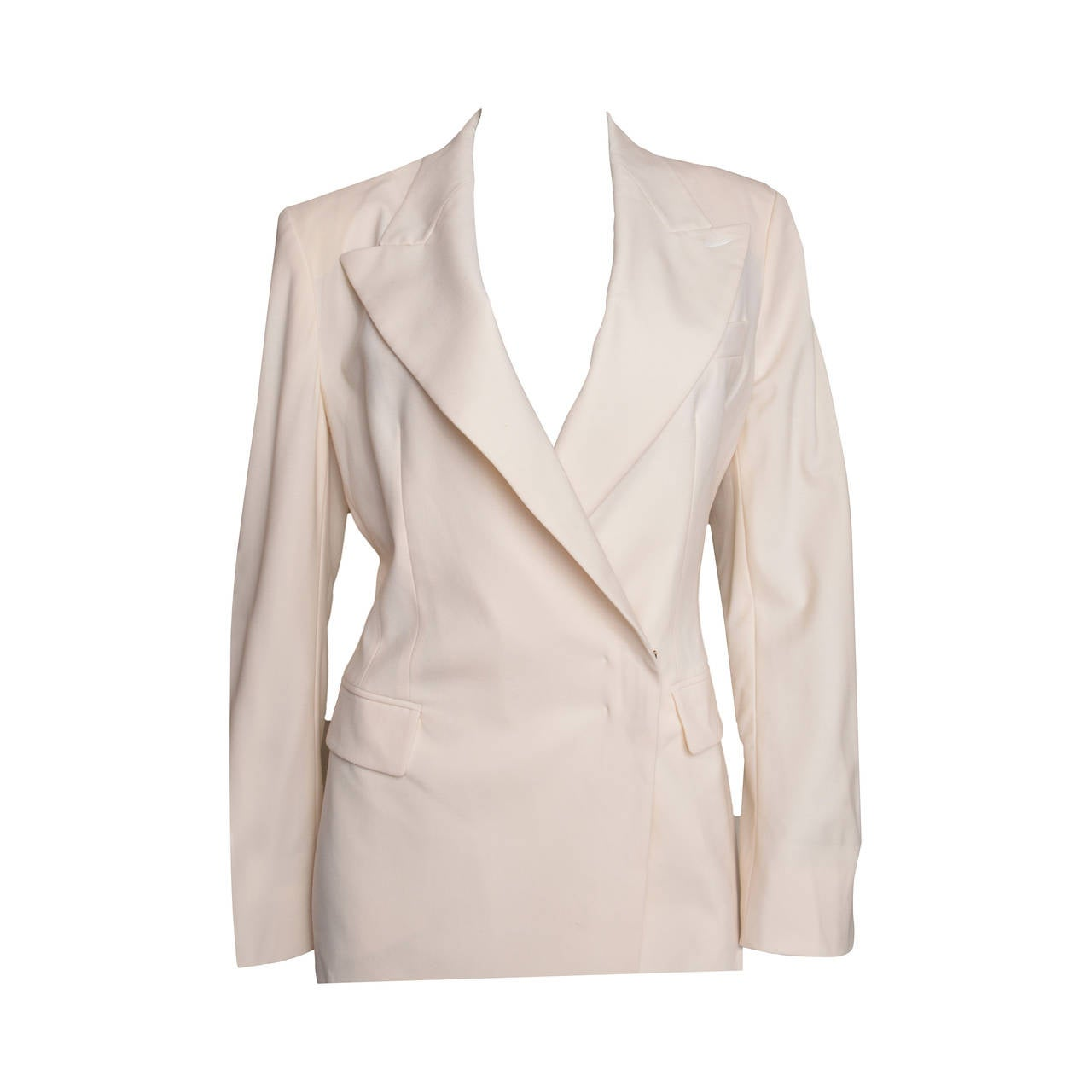 Yves Saint Laurent Rive Gauche Cream Tuxedo Jacket