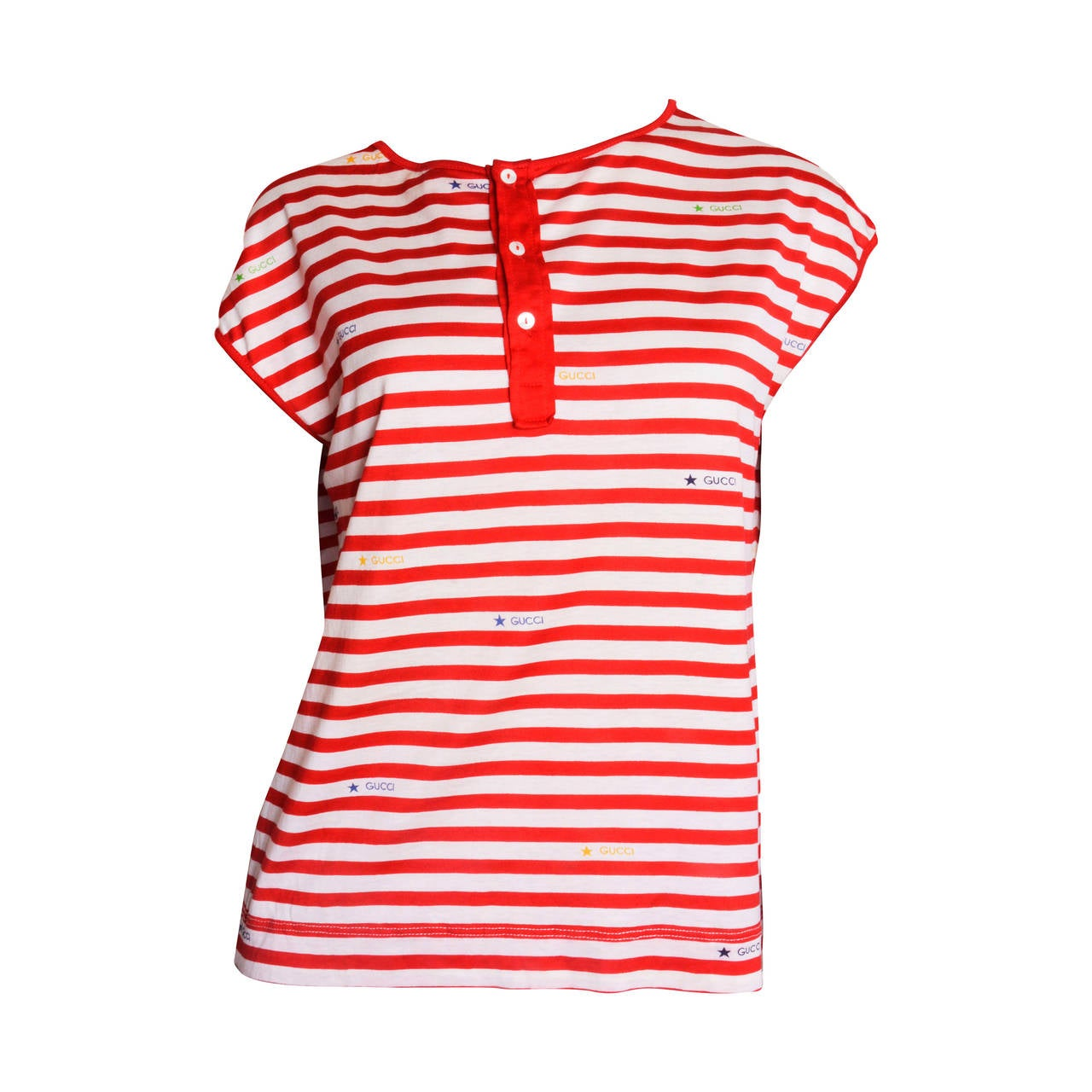 Gucci Red & White Striped Logo T-Shirt For Sale