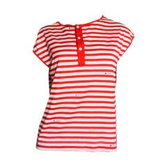 Gucci Red & White Striped Logo T-Shirt