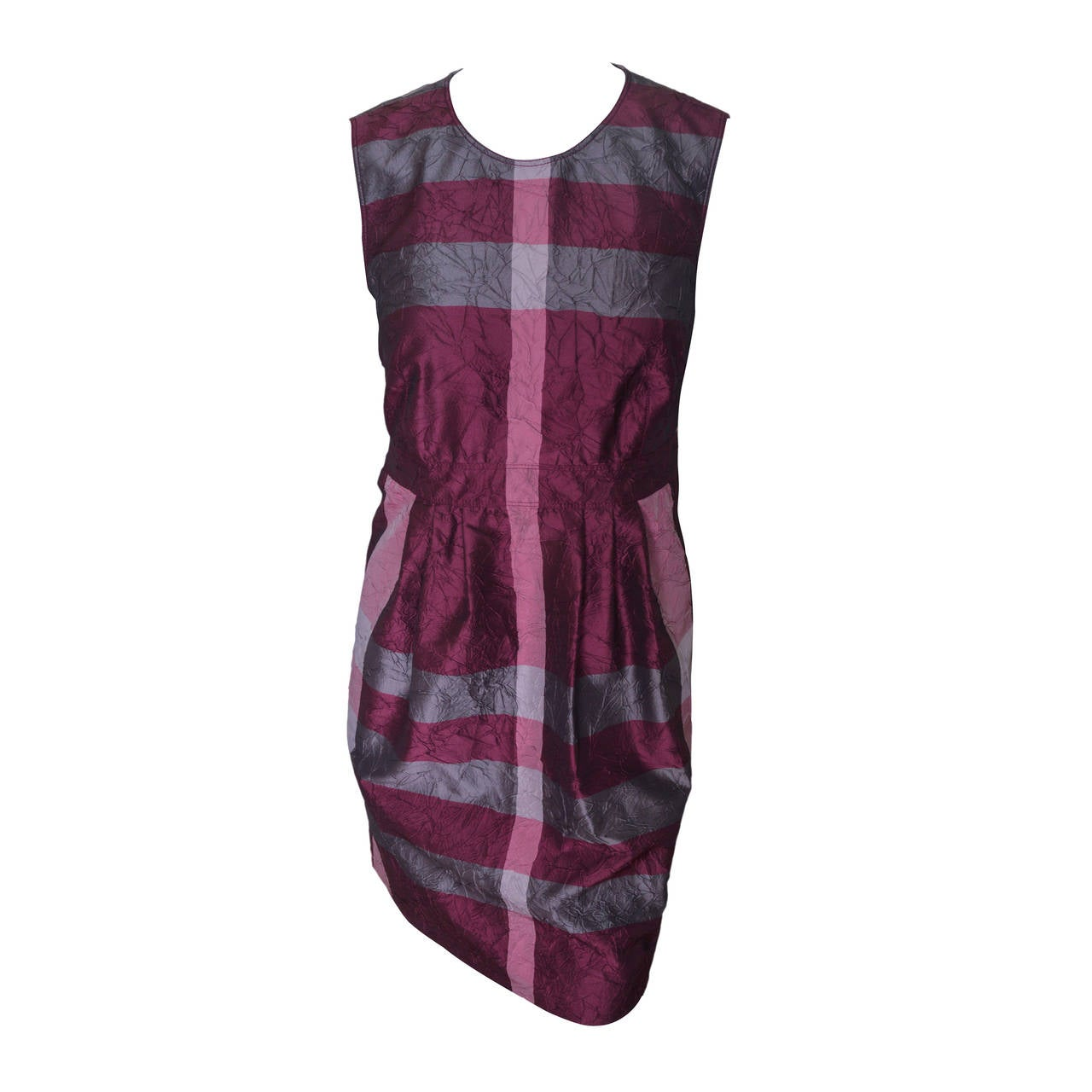 Burberry Iridescent Crinkled Check Dress