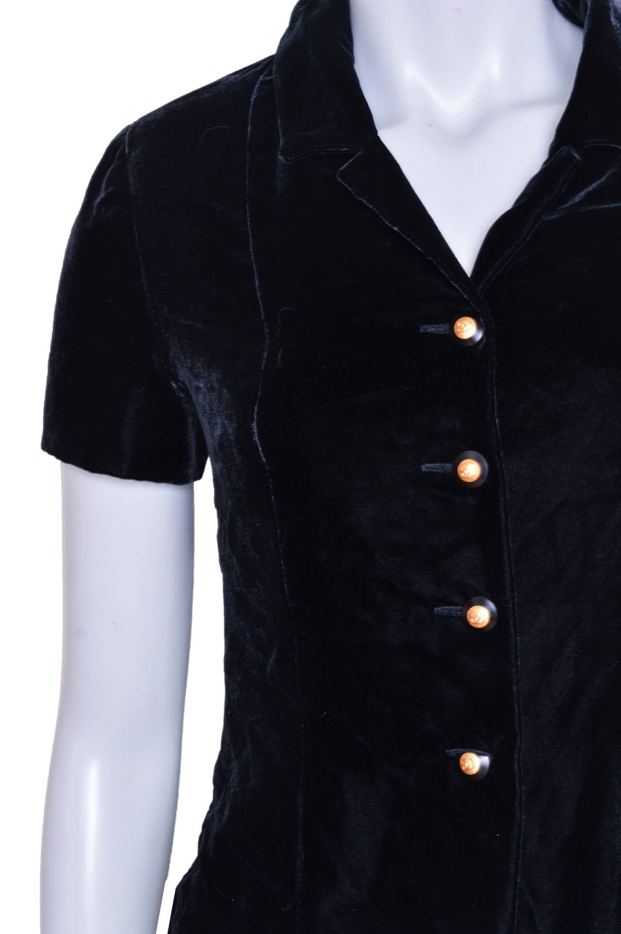 Chanel Boutique Black Velvet Formal Top 4