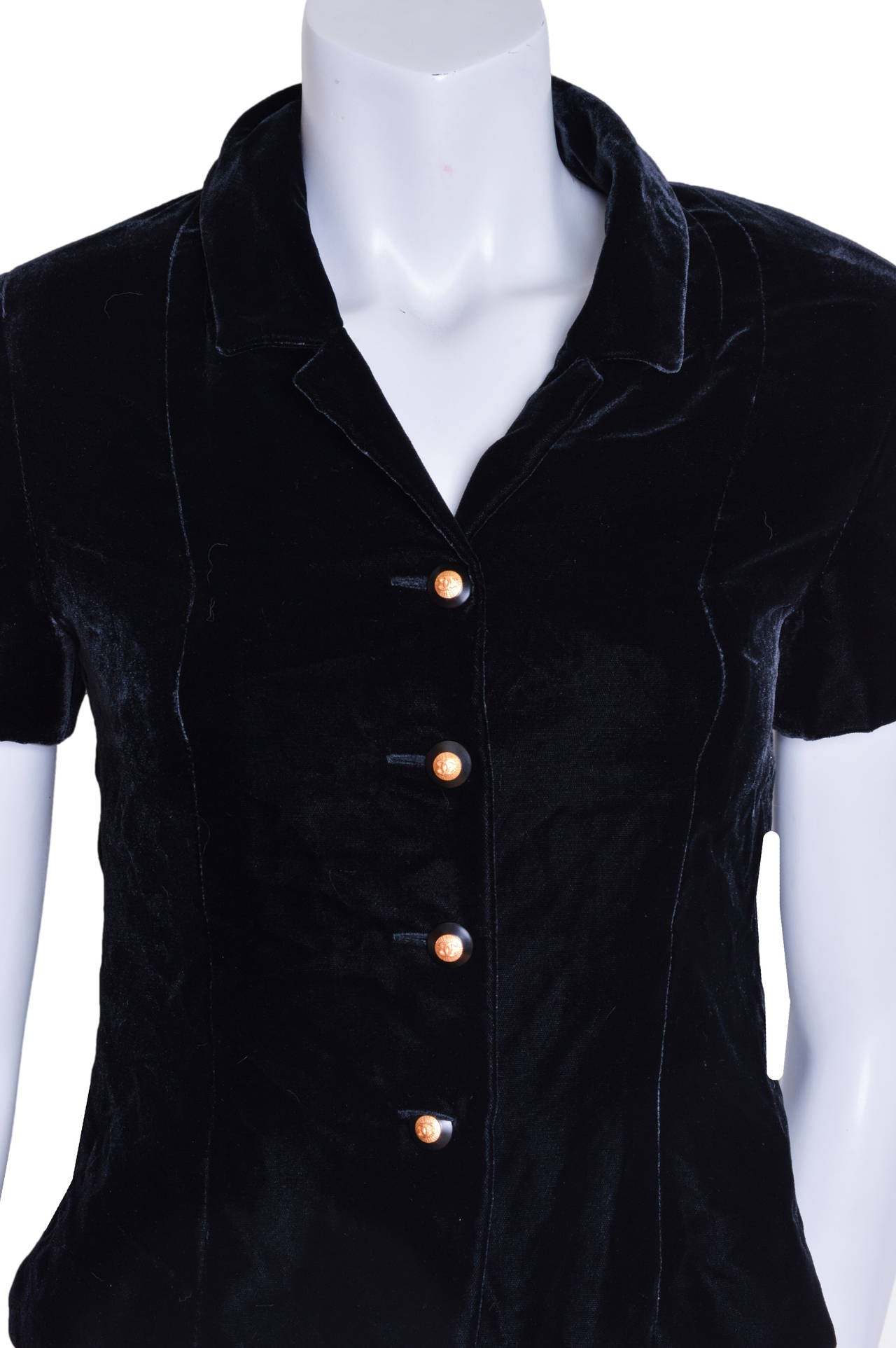 Chanel Boutique Black Velvet Formal Top 6