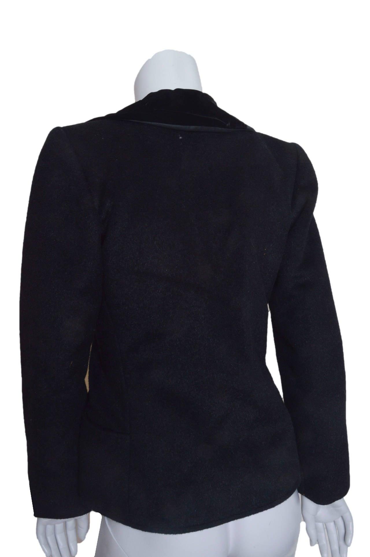Women's Yves Saint Laurent Rive Gauche Black Wool and Velvet Blazer For Sale
