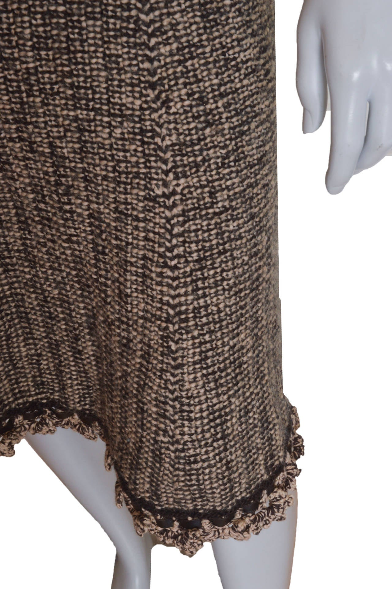 Chanel Woven Knit Skirt with Crochet Trim 4