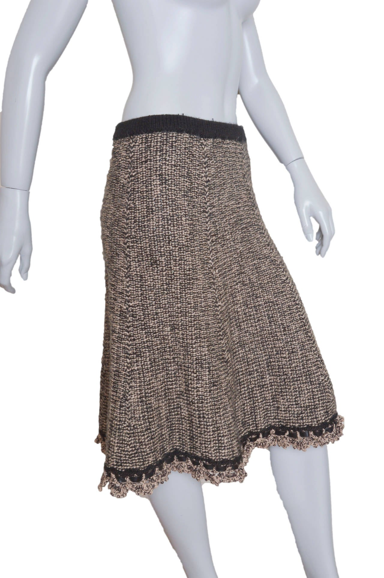 Chanel Woven Knit Skirt with Crochet Trim 2