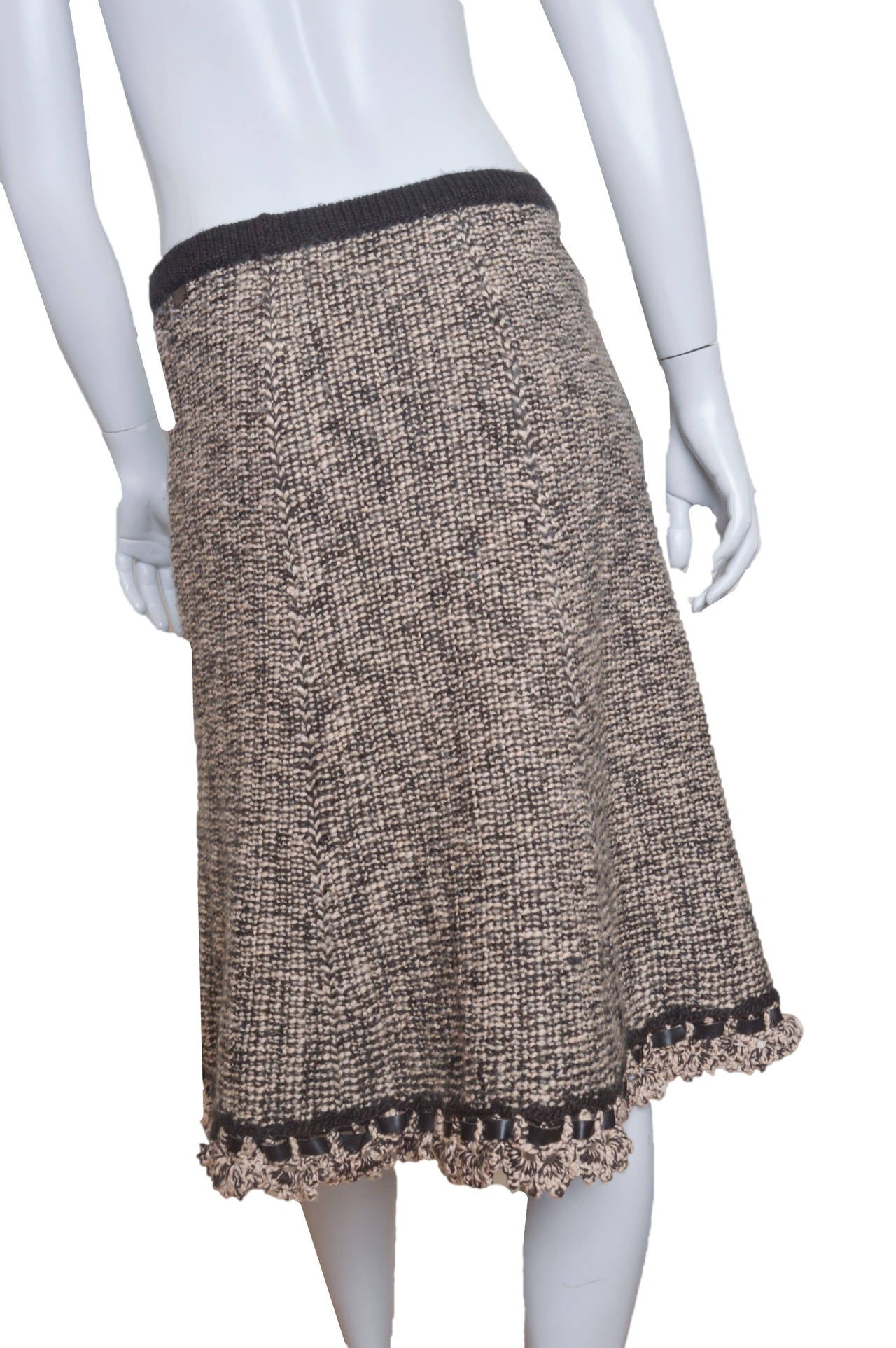 Chanel Woven Knit Skirt with Crochet Trim 3